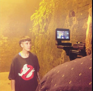 Interviewing Kim Ann Foxman during filming