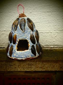 Portable Grotto, mixed materials, mussel shells, Lorna Barrowclough, 2014